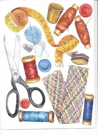 Laminas decoupage: hilos y accesorios para la costura