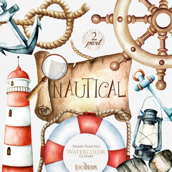 Clipart aquarelle nautique. Marine. Océan. Fichiers PNG individuels. Phare, bouée de sauvetage, lampe, barre, bannière, défilement, Ancre, invitation