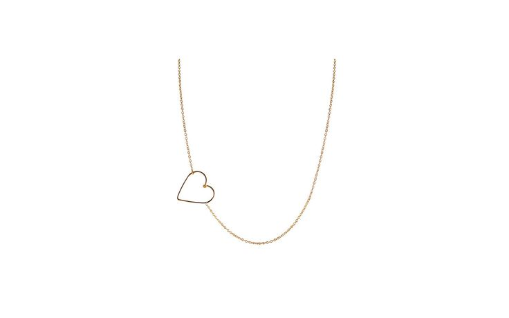 rocket. store - By Philippe Large sideways heart pendant on gold filled necklace N#523