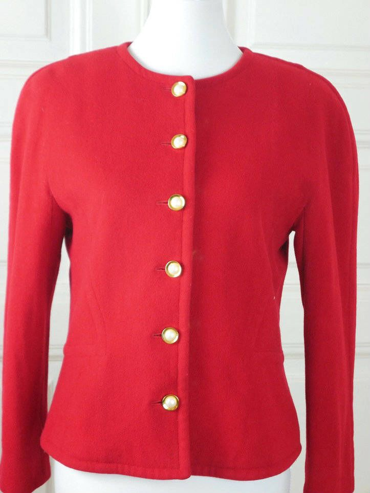 German Vintage Cashmere Blazer, Red Long-Sleeve 1980s European Jacket w Gold Pearl Buttons, Smart Professional Blazer: Size 8 US, Size 12 UK by YouLookAmazing on Etsy