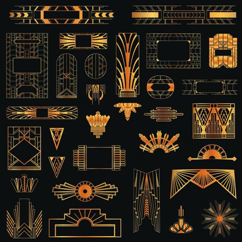 Free Golden art ornament elements vector 02 ~ Art Deco Frames and Borders