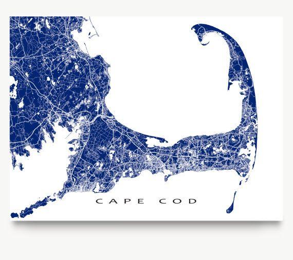 Cape Cod Map Print Cape Cod Massachusetts Art MA by MapsAsArt