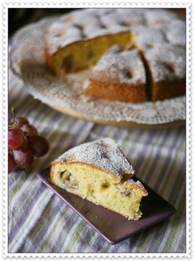 Red grape, polenta and olive oil cake