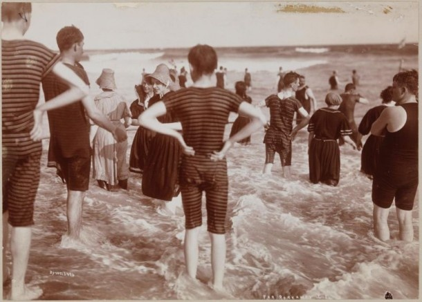 Bathers in Surf, Far Rockaway Beach, Queens, c. 1897 | Photographer: Byron Company