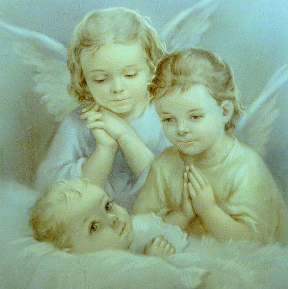 Vintage Baby Print Guardian Angels Picture  by GoodNightElegia