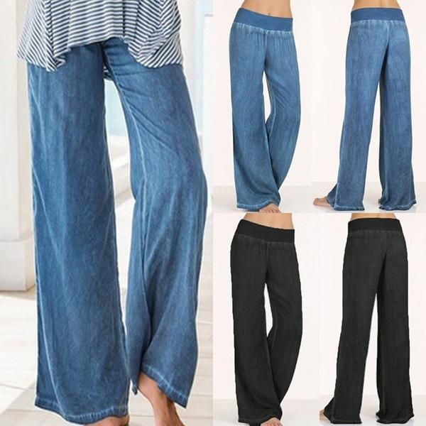 Women Flare Denim Jeans Bell Bottom Wide Leg Pants Hippie Trousers Plus Size 5xl