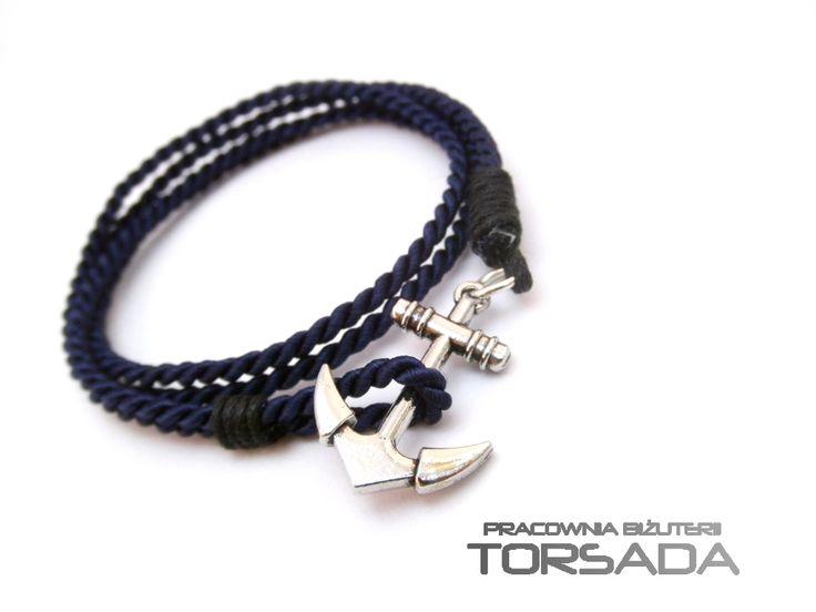 Granatowa bransoletka męska z kotwicą ręcznie wykonana ze sznura. Dark blue bracelet Men's anchor hand-made string. TORSADA