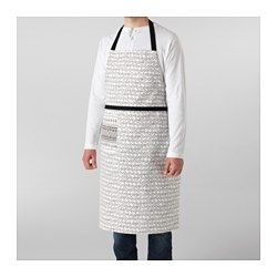 IKEA - SOMMAR 2017, Apron, Adjustable neck-band fits most.Practical pocket for storing small items.You can use the waistband for hanging barbecue tongs or a kitchen towel, for example.The loop makes it easy to hang the apron when not in use.