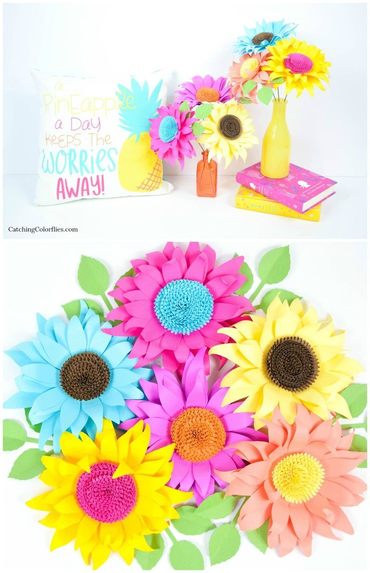 Sunflower Paper Flower Template Small Pretty Paper Posies By