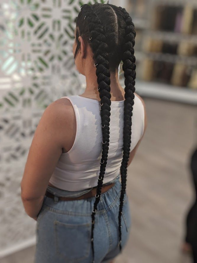 Extra Long And Thick Dutch Braid Extensions With A Natural Colourd Black Braided Throug In 2020 Braids With Extensions Dutch Braids Black Hair Braid In Hai Braid In Hair Extensions