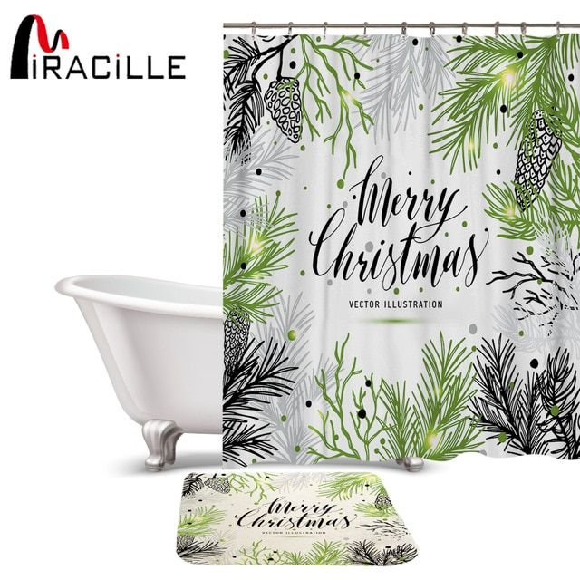 Miracille Marry Christmas Printed Shower Curtain Set Waterproof