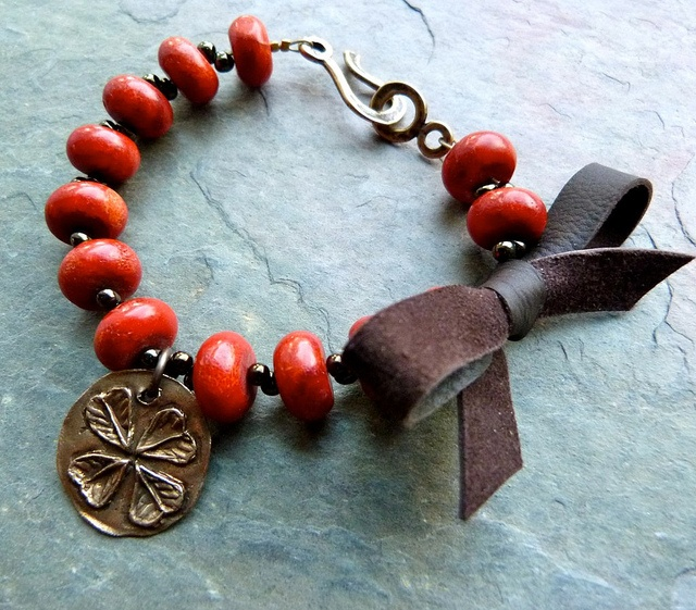 Nothing like a little leather to spice things up! Lorelei Eurto bracelet.