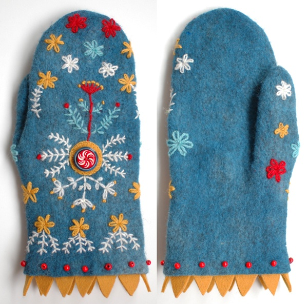 embroidered felt mittens