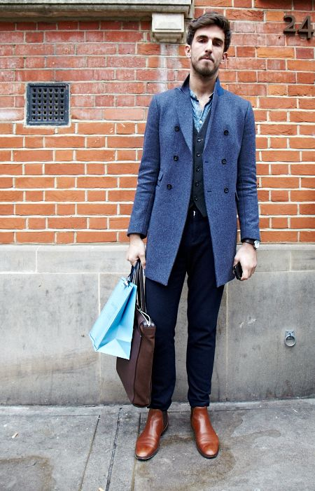 Street style at Men's Fashion Week AW13 in London.