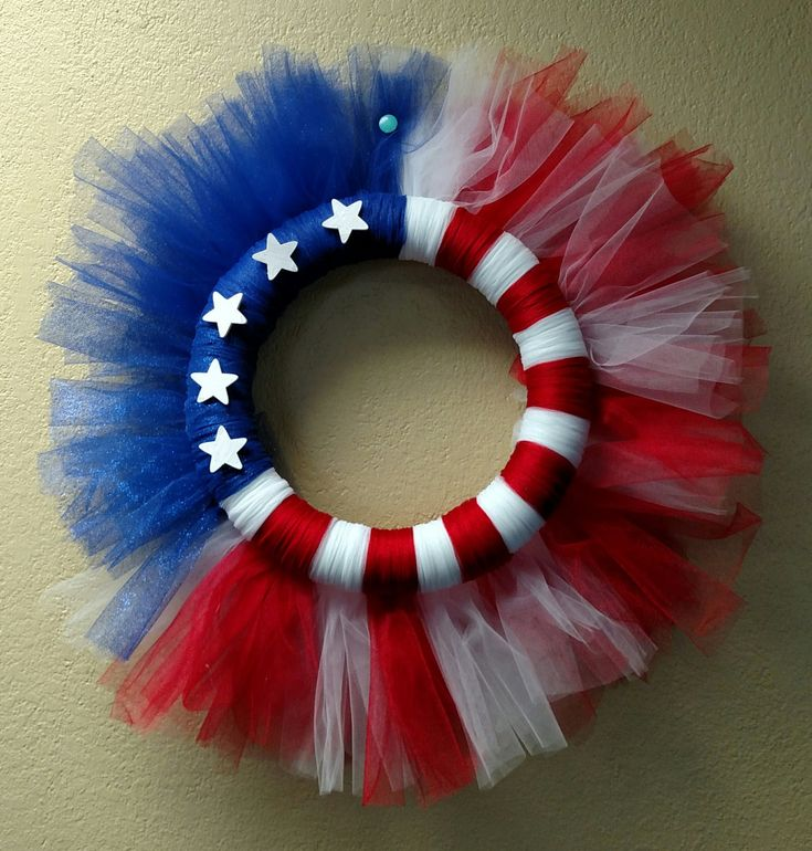 Patriotic Red White & Blue Flag Tulle Wreath Reversible by DecorAndMore4Shore on Etsy