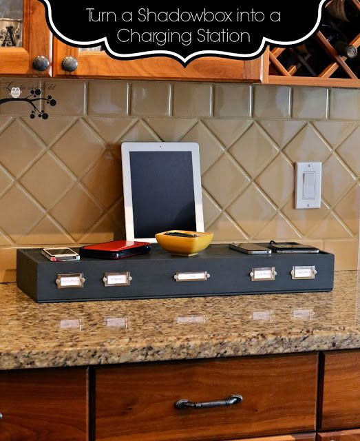 Turn A Shadowbox Into A Charging Station With Images Charging Station Charging Station Diy Shadow Box