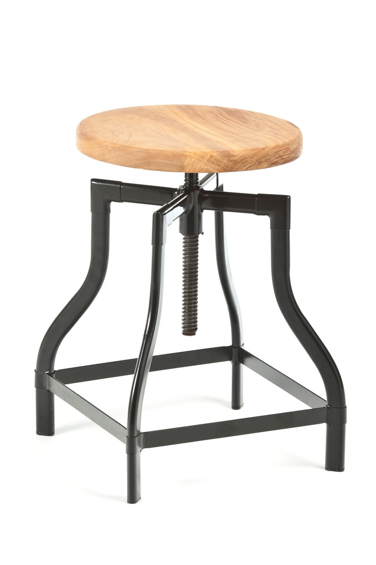 Machinist Stool / Wood Seat Black / Industry West