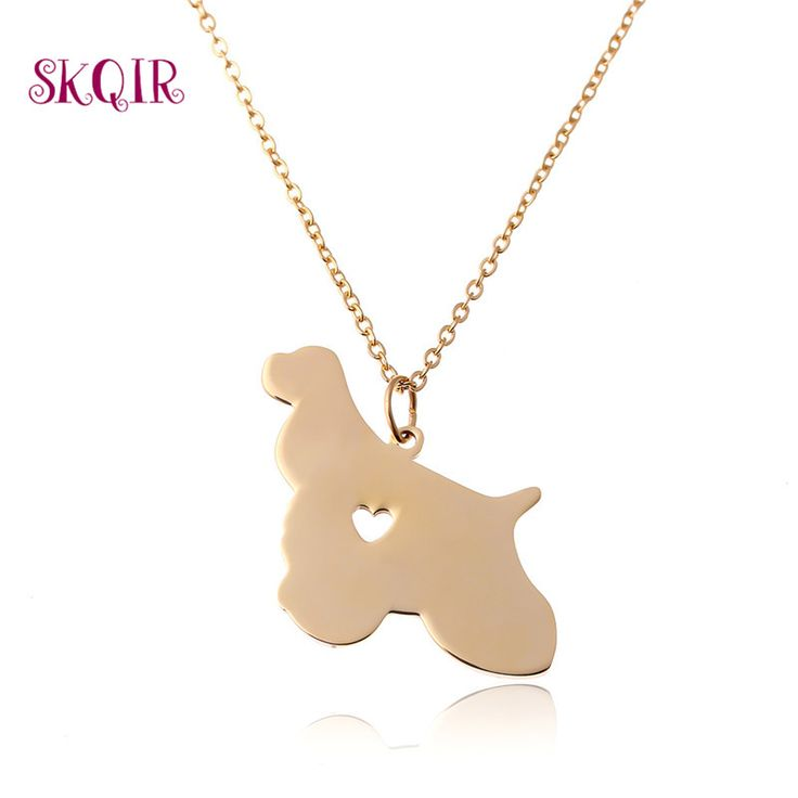 Men's  Pendant Necklaces Steel Dog Gold Plate Pendants Gift For Women Long Chain Men Cocker Spaniel Necklace Womens Jewellery