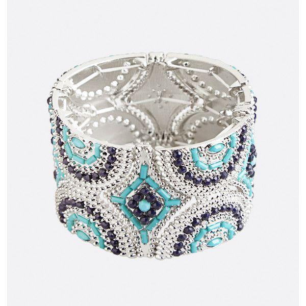 Avenue Aztec Stone Stretch Bracelet ($16) ❤ liked on Polyvore featuring jewelry, bracelets, blue sea, plus size, aztec jewelry, stone jewellery, bead jewellery, beaded jewelry and stretch jewelry