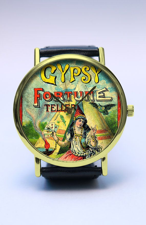 GYPSY Handmade Watch, Fortune Teller Watch, Bohemian Style, Vintage Style Leather Watch, Boyfriend Watch, Unisex Watch, Handmade Jewelry