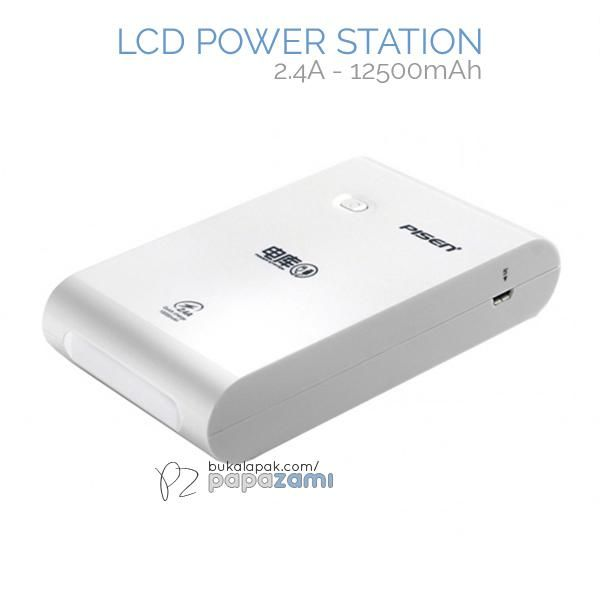 Pisen LCD Power Station 12500maAh (2.4A) (Apple White)  Product Name: Power Station (2.4A) Brand: Pisen Type: Power Bank Weight: 357g Capacity: 12500mAh Dimension: 137.5 x 70.5 x 23.5mm Battery Type: Grade A Lithium-ion Battery Output: USB1: 5V==1A, USB2: 5V==2.4A, USB1+USB2=3.4A(Max) Input: 5V==2A  Pisen LCD Power Station 12500maAh (2.4A)  * Large capacity of 12500mAh  * Double USB Output(1A/2.4A) * Charge 2 devices at the same time * Compatible with majority of devices in the market…
