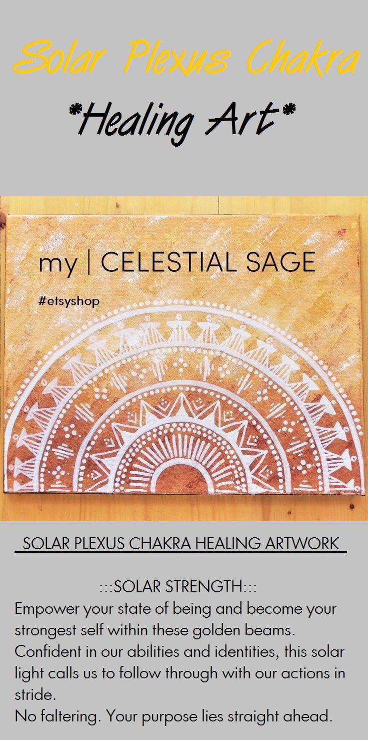 This chakra healing mandala is titled:   SOLAR STRENGTH   visit etsy.com/shop/mycelestialsage to purchase... mandala painting, mandala decor, boho, zen decor, gypsy, bohemianchic, chakras, gift, nursery decor, Chakra, Chakra Balancing, Root, Sacral, Solar Plexus, Heart, Throat, Third Eye, Crown, Chakra meaning, self love, wall art, handmade, heartbreak, baby shower, gypsy soul, good vibes, Chakra affirmation, Chakra Mantra, affirmations, Energy, mindfulness, meditation, yoga