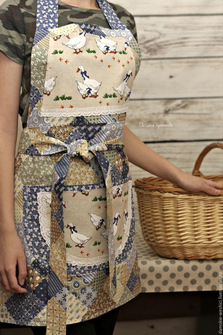 """Купить Фартук женский для кухни """"Гуси"""" двусторонний - синий, кухня, фартук, фартук передник"""