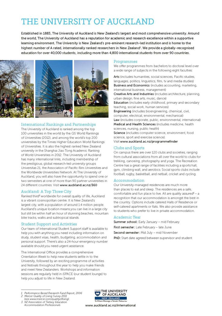 Established in 1983, The University of Auckland is New Zealand's largest and most comprehensive university. Around the world, the University has a reputation for academic and research excellence within a supportive learning environment. Contact EIG at: info@imelite.org for a free consultation!