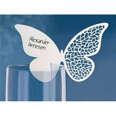 Bordkort - Laserskåret Sommerfugl til glass - 10 stk - Hvite