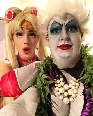 Emily and Colton bring it for Halloween as Sailor Moon and Ursula