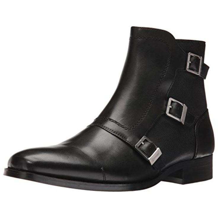 Calvin Klein 1389 Mens Stark Black Leather Chukka Boots Shoes 9 Price $180.00