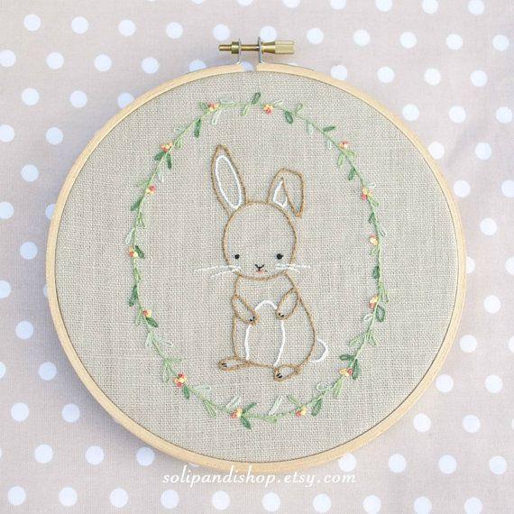 Pequeño conejo, patrón digital para bordar