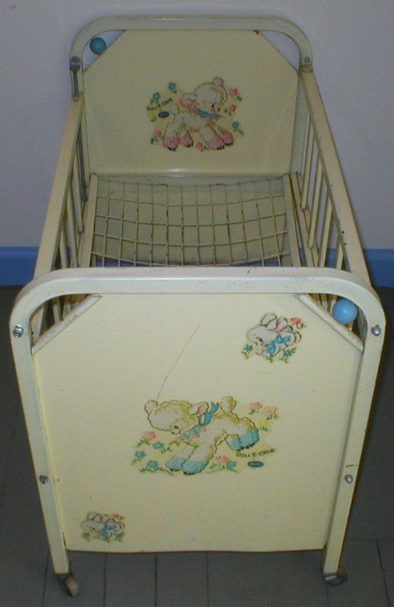 Doll E Crib Bed Amsco Metal, 1955.  I have this exact bed, and received it for Christmas in the early 50's.