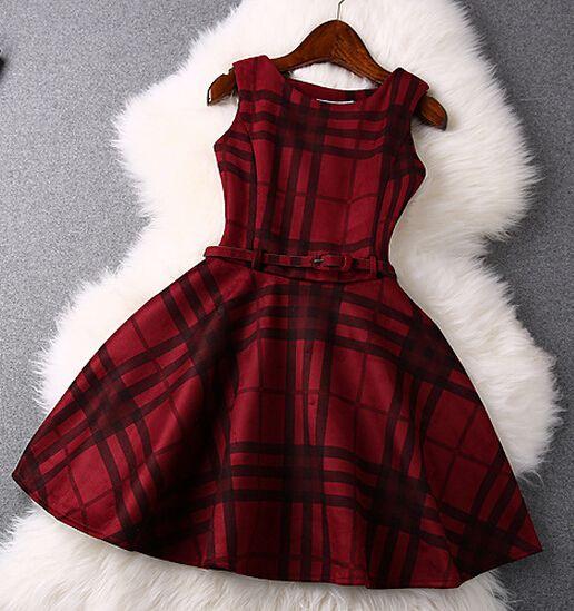Grid Sleeveless Fashion Dress