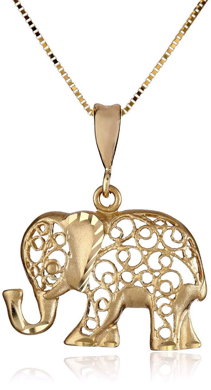 "14k Yellow Gold Diamond-Cut Elephant Pendant Necklace, 18"":"