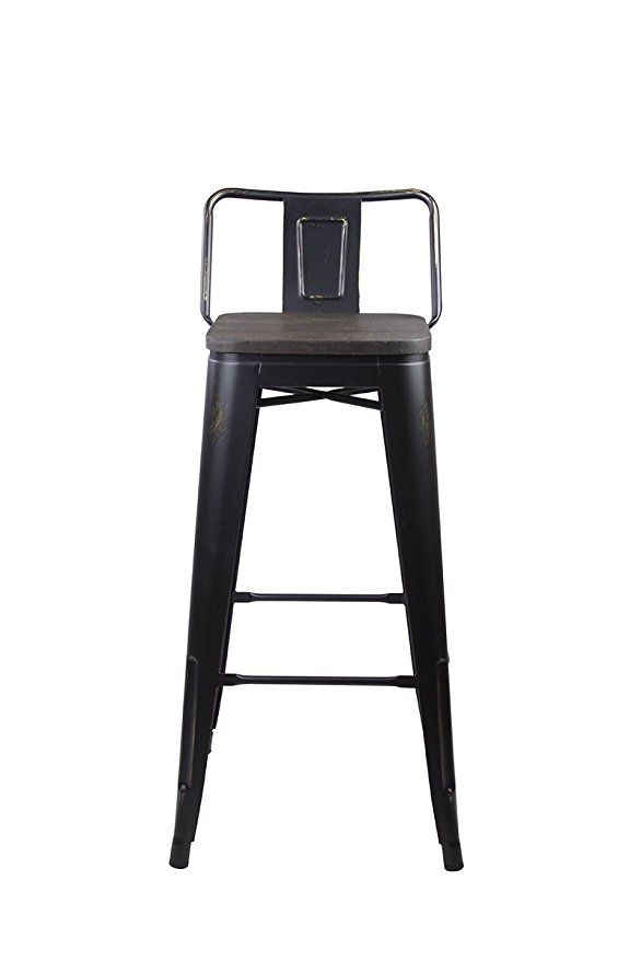 Amazoncom Gia Low Back Metal Barstool With Wooden Seat 30 Bar