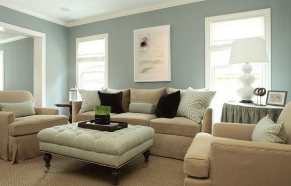 blaue wand dekokissen braune farbe sessel - Wohnzimmer streichen – 106 inspirierende Ideen