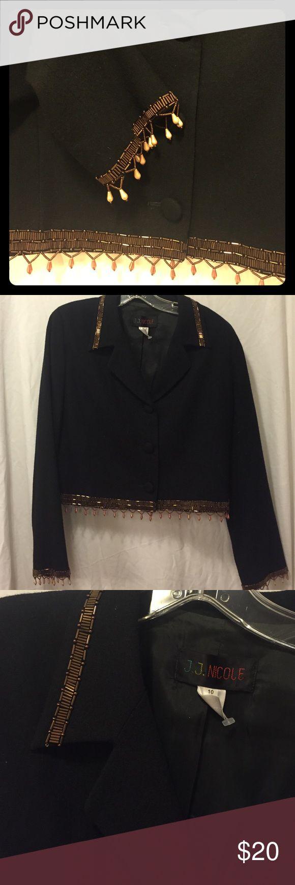 🎈last chance. Embellished wool blazer Absolutely beautiful! Size 10   Wool shell. Acetone lining. Gorgeous embellishments!! Jackets & Coats Blazers