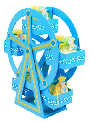 Centro de mesa para Baby Shower Rueda de la fortuna en madera color azul y amarillo