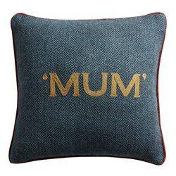 """Coussin en Tweed Bleu Lagon """"Mum"""" LOUNGE FABRICS"""