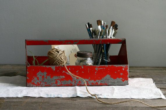 red vintage tool box.
