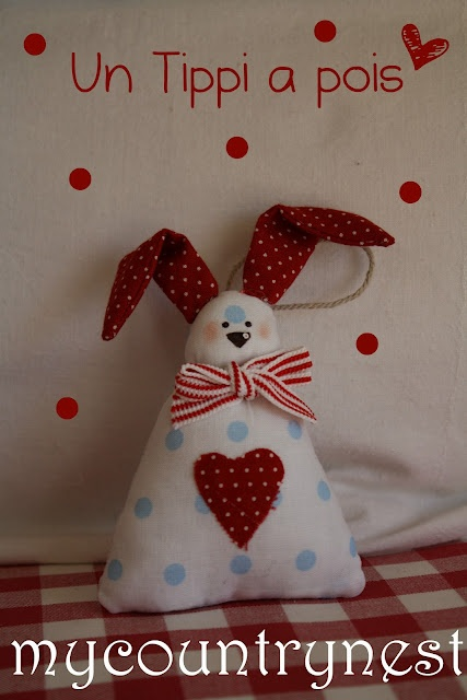 Simple and cute stuffed bunny ornament. No pattern, pic for inspiration.