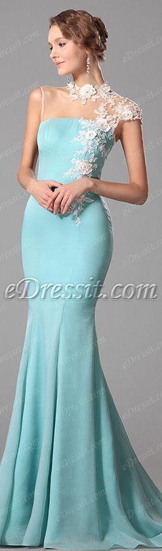 [USD 146.45] eDressit Lace Neck Light Blue Evening Dress Formal Gown (00150632)