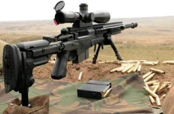 Accuracy International AX308 7.62x51mm NATO. This gun is not for hunting on our property, it's for: No one comes here uninvited.
