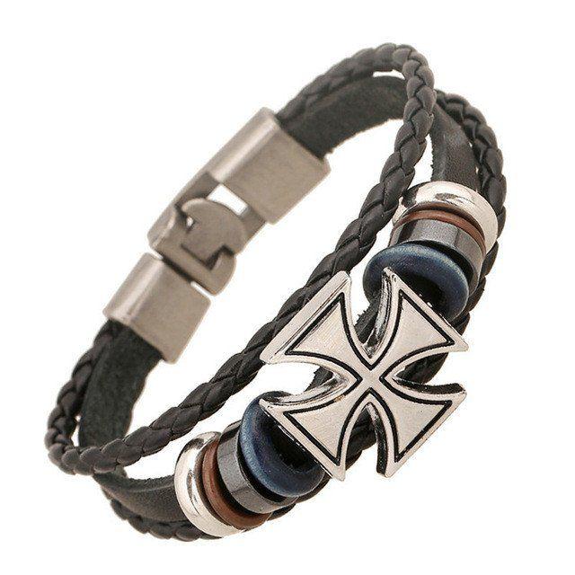 Vintage Leather Bracelet With Cross