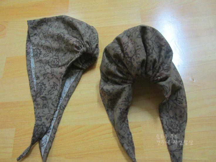 뒤로 묶는 두건 두건만드는 방법 2번째 김밥집을하는 이웃언니가 머리두건을 만들어 달라고 해서 뒤로 묶는...