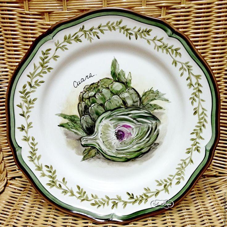 "Купить Тарелка фарфоровая ""Артишок"" - зеленый, тарелка, Тарелка декоративная, тарелка настенная, тарелка на стену"