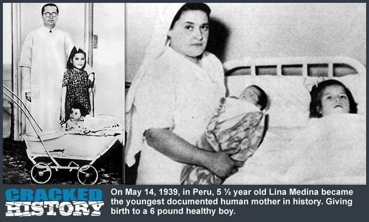 On May 14, 1939, in Peru, 5 ½ year old Lina Medina became the youngest documented human mother in history.  Far from a hoax or myth, this case was well documented.