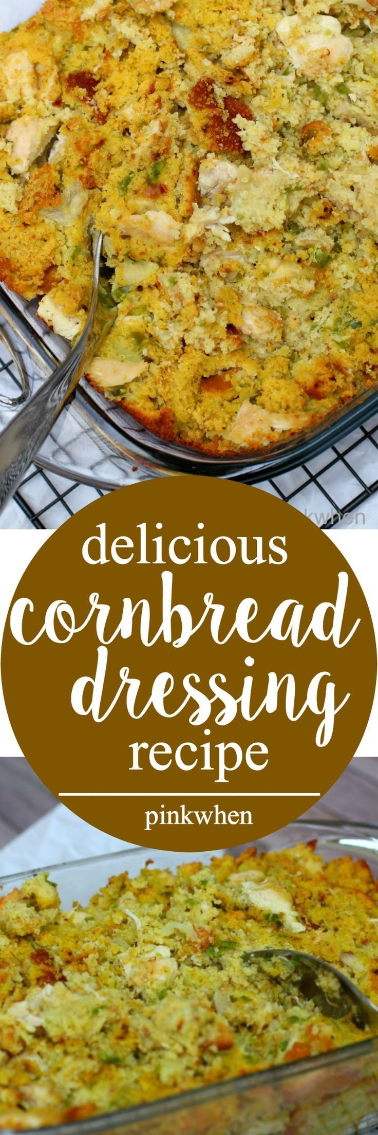 Delicious Chicken and Cornbread Dressing Recipe - A perfect Thanksgiving Side Dish! #POURLOVEINN | PinkWhen #sponsored