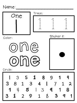 Super Simple Math Number Worksheets, Numerals 010